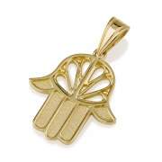 14K Gold Hamsa Necklace with Petal Design