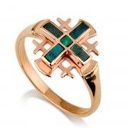 Ben Jewelry 14K Rose Gold Eilat Stone Jerusalem Cross Ring