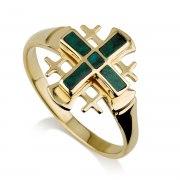 Ben Jewelry 14K Yellow Gold Eilat Stone Jerusalem Cross Ring