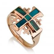 Ben Jewelry 14K Rose Gold Eilat Stone Large Jerusalem Cross Ring