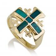 Ben Jewelry 14K Yellow Gold Eilat Stone Large Jerusalem Cross Ring