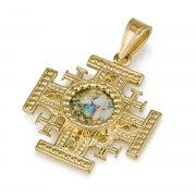 Ben Jewelry 14K Gold And Roman Glass Ornate Jerusalem Cross Pendant