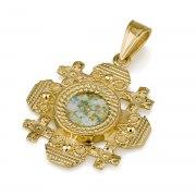 Ben Jewelry 14K Gold Roman Glass Rounded Jerusalem Cross Pendant