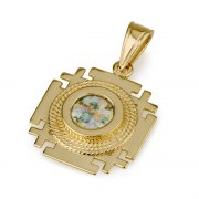 Ben Jewelry 14K Gold Roman Glass Square Jerusalem Cross Pendant