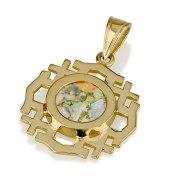 Ben Jewelry 14K Gold Roman Glass Angled Jerusalem Cross Pendant