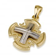 Ben Jewelry 14K White And Yellow Gold Rounded Jerusalem Cross Pendant