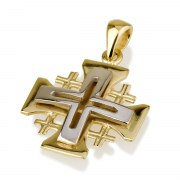 Ben Jewelry 14K White And Yellow Gold Jerusalem Cross Pendant With Cross Cutout