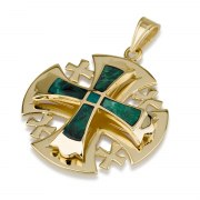 Ben Jewelry Gold Jerusalem Cross Pendant With Narrow Eilat Stone Cross