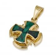 Ben Jewelry Stacked Filigree Gold Eilat Stone Jerusalem Cross Pendant