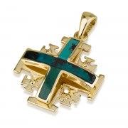 Ben Jewelry Gold Jerusalem Cross With Curved Eilat Stone Cross Pendant