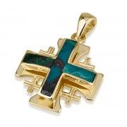 Ben Jewelry Yellow Gold Eilat Stone Jerusalem Cross Pendant