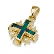 Ben Jewelry Small Gold Eilat Stone Jerusalem Cross Pendant