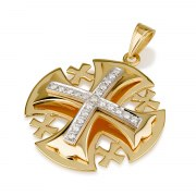 Ben Jewelry 18K Gold Large Jerusalem Cross Pendant With Diamonds In White Gold Setting