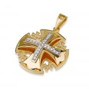 Ben Jewelry 18K Gold Medium Jerusalem Cross Pendant With Diamonds In White Gold Setting