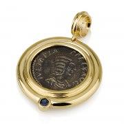 Ben Jewelry 14K Gold Sapphire Julia Domna Roman Coin Pendant