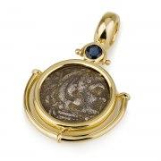 Ben Jewelry 14K Gold Sapphire Greek Drachma Coin Pendant