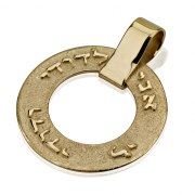 14K Gold Texture Rotating Ring with Raised Ani Ldodi Vdodi Li Letters