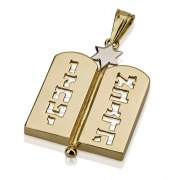 14k Gold Ten Commandments and Star of David Necklace