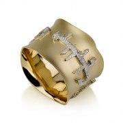 14K Yellow Gold Jewish Wedding Ring with Textured Ani L'Dodi