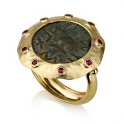 14K Yellow Gold and Ruby Ring with Ancient Masada Coin