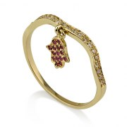 14K Gold Hamsa Ring with Rubies and Diamonds