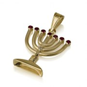 14k Gold Menorah Pendant with Ruby Flames