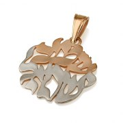 14K White and Rose Gold Shema Yisrael Circle Pendant