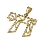 14K Gold Chai Pendant Curving Lines Design