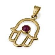 14K Matte Gold Hamsa Necklace with Garnet Stone
