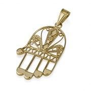 14K Filigree Gold Hamsa Pendant Natural Hand Shaped