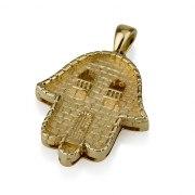 14K Gold Hamsa Necklace Jerusalem Old City Design