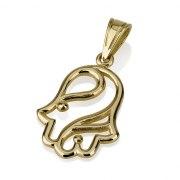 14K Gold Hamsa Necklace Wavy Shining Lines
