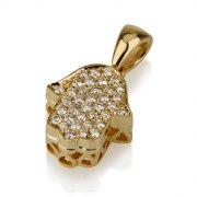 18K Gold Classic Hamsa Pendant set with Diamonds