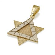 14K Gold Star of David Pendant Textured Triangles Design