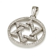 18K White Gold Star of David Pendant Set with Diamonds in Round Frame