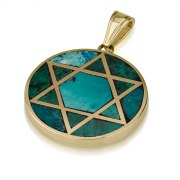 14K Gold and Eilat Stone Star of David Pendant in a Round Frame
