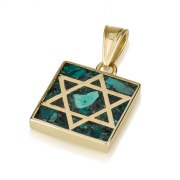 14K Gold and Eilat Stone Star of David Pendant in a Square Frame