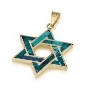 14K Gold and Eilat Stone Star of David Pendant Interwoven Design