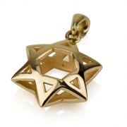 14K Shiny Gold Star of David Necklace 3D Design