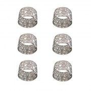 Yair Emanuel Silver Metal Cutout Pomegranates Napkin Ring Set (6)