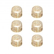 Yair Emanuel Brass Metal Cutout Pomegranates Napkin Ring Set (6)