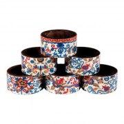 Yair Emanuel Printed Multicolor Pomegranates Wood Napkin Ring Set (6)