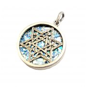 Silver 3D Star of David on Roman Glass Necklace