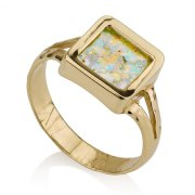 14K Gold Ring with Rectangular Roman Glass
