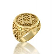 14K Yellow Gold Star of David Ring with Name of God