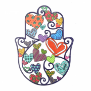 Emanuel Judaica Medium Wall Charm Heart Hamsa