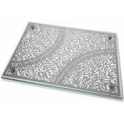 Dorit Judaica Pomegranates And Verses Metal Cutout Glass Challah Board
