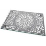 Dorit Judaica Mandala Shabbat Blessings Metal Cutout Glass Challah Board