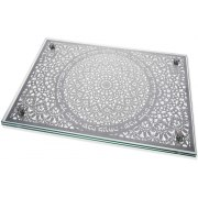 Dorit Judaica Shabbat Blessings Mandala Metal Cutout Glass Challah Board