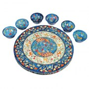 Yair Emanuel Wood Seder Plate with Matching Bowls Peacocks